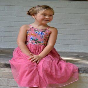 Pink Flower Strap Dress