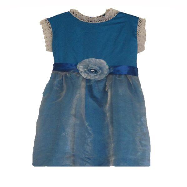 Girls Blue Satin Dress