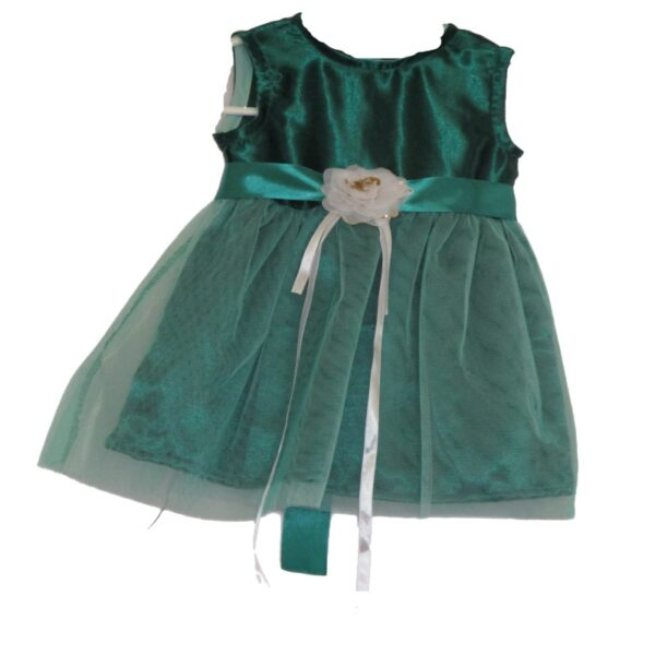 Girls Green Satin Dress