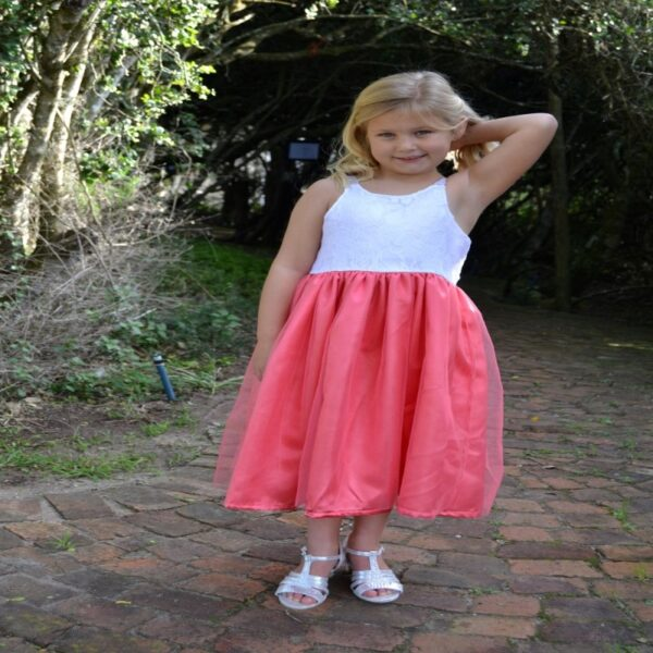 Apricot and White Lace Dress