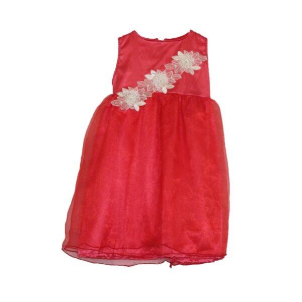 Girls Red Satin Dress