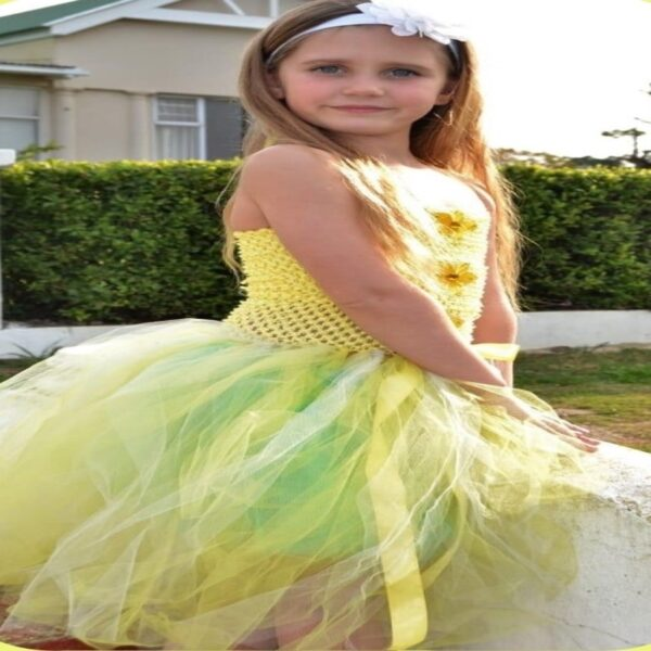 Tutu Dress Yellow - Tutu dress with crochet bodice and tulle strip skirt. - Decoration on bodice can be customised